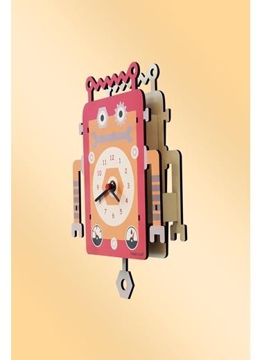 Peoples Clock Robot Sallanan Sarkaçlı Çocuk Odası Duvar Saati Renkli